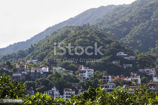 Rolling jungle hills with scattering of condos in Puerto Vallarta, Mexico