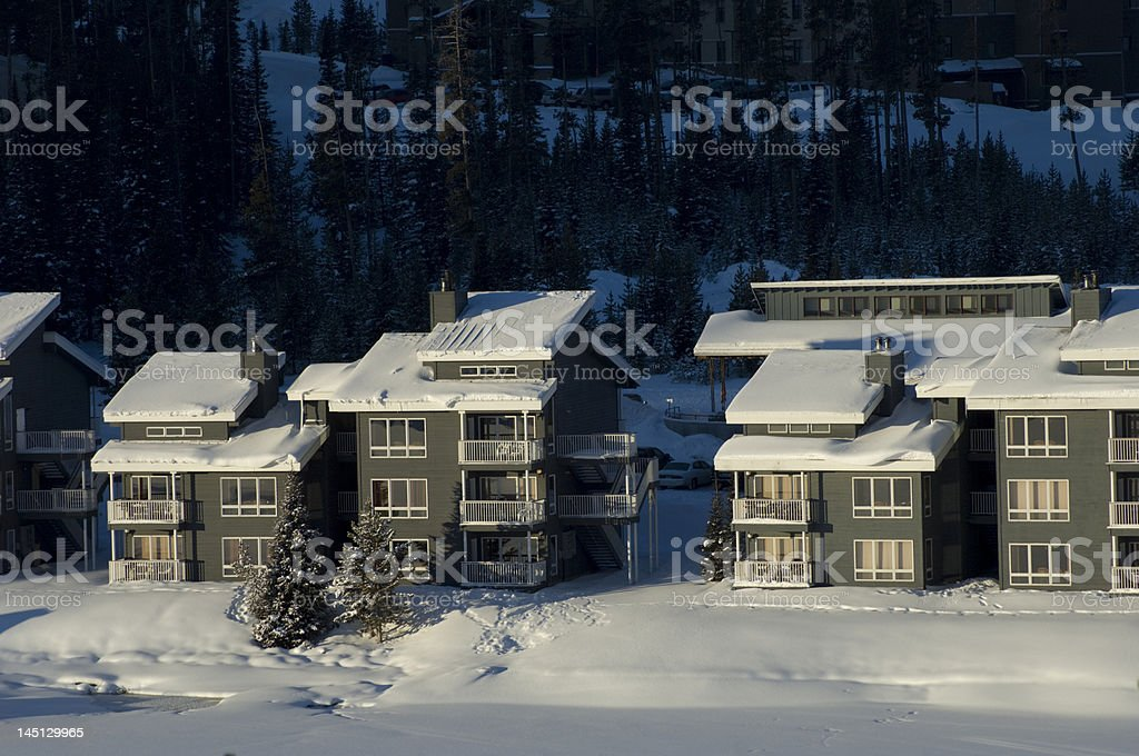 Condos in Big Sky Montana stock photo