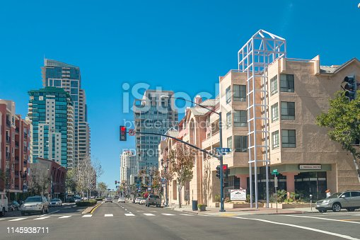 Condo buildings on Market Street in the Gaslamp Quarter, Downtown San Diego,California, USA on a sunny day.