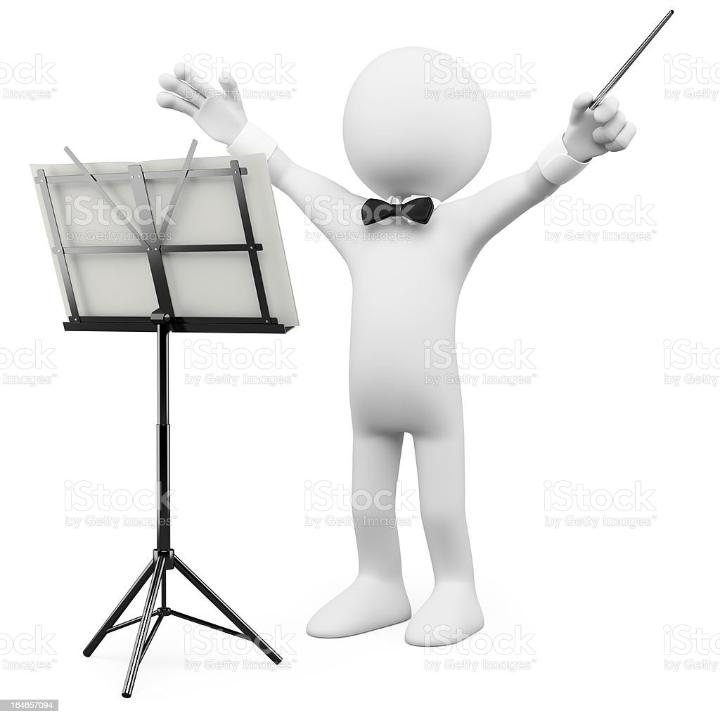 3D conductor leading the orchestra royalty-free stock photo