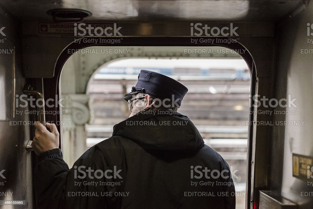 Conductor on Departure stock photo