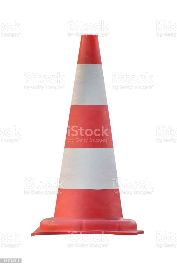 cone for roadworks isolated on white background stock photo