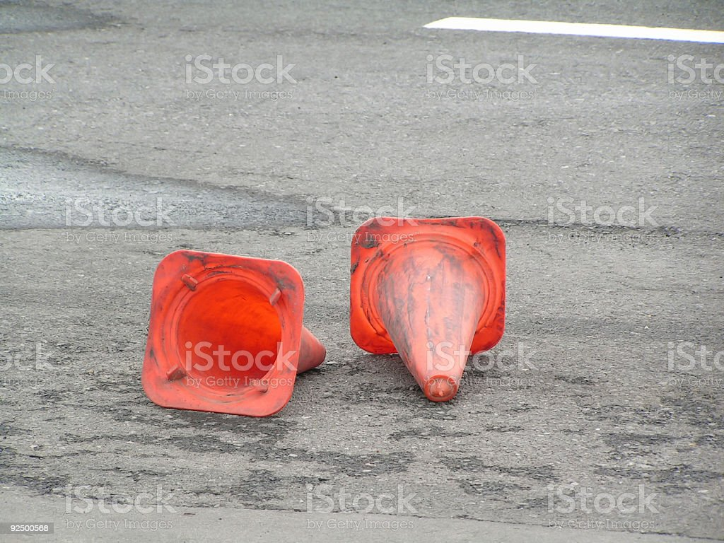 Cone Signs by the road stock photo