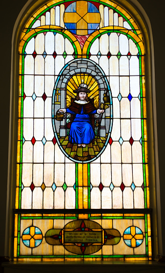 Conejos, CO: Our Lady of Guadalupe Church stained glass window. This is the oldest church in Colorado, just north of Antonito, CO.