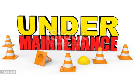 istock Cones and under maintenance text 482150656