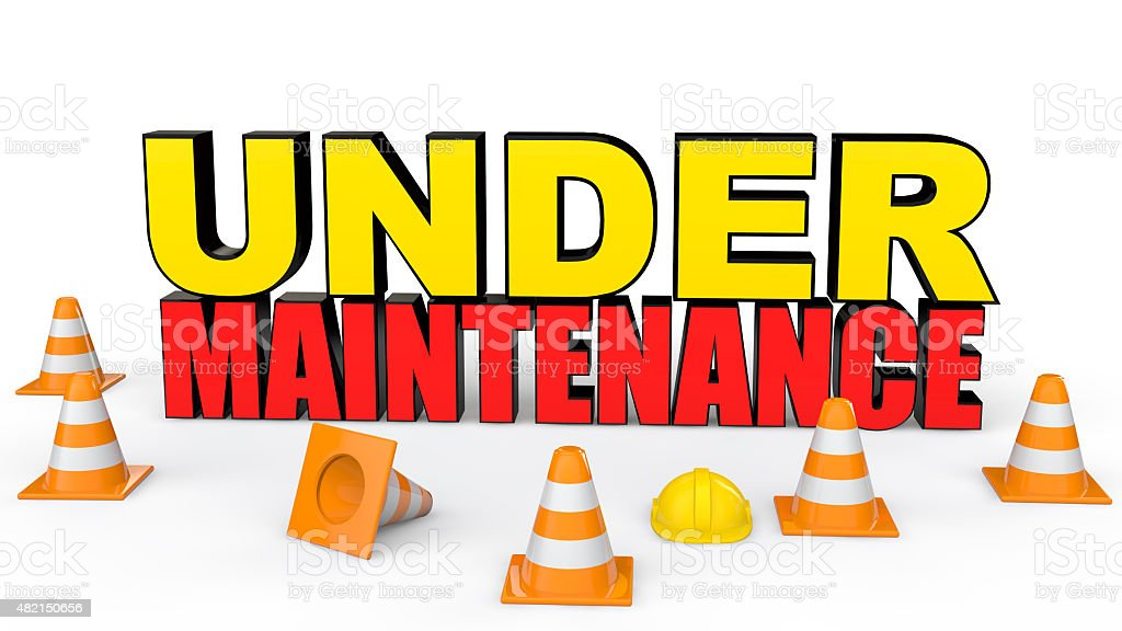 Cones and under maintenance text stock photo