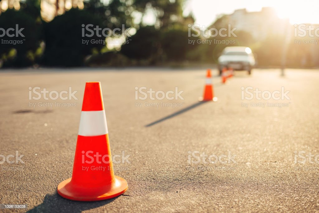Cones for the examination, driving school concept stock photo