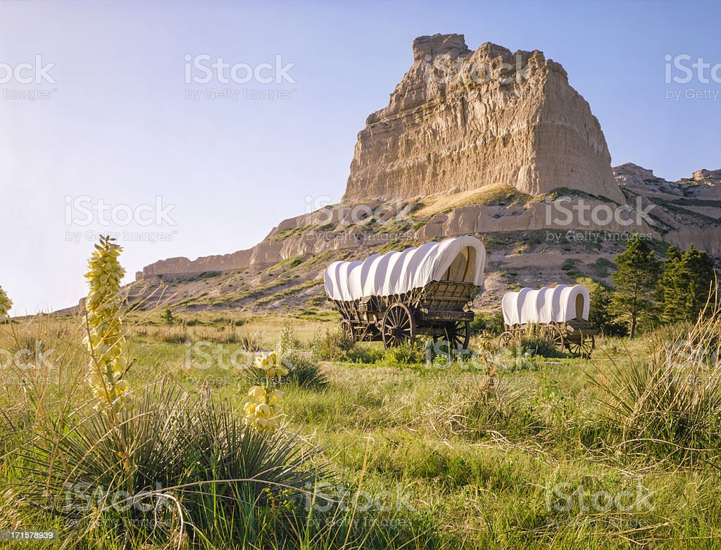 Conestoga covered wagons, Scotts Bluff National Monument, Oregon Trail, Nebraska stock photo