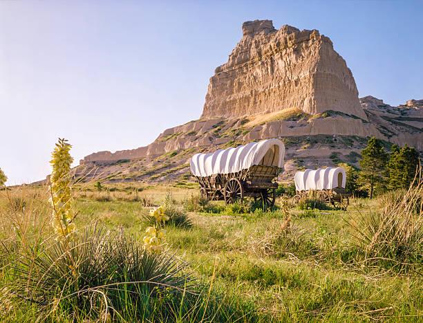 Conestoga covered wagons, Scotts Bluff National Monument, Oregon Trail, Nebraska stock photo