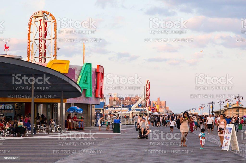 Coney Island Boardwalk Brooklyn NYC stock photo