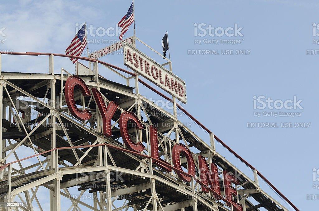 Coney Island Cyclone Historic Wooden Roller Coaster Amusement Ride NYC stock photo