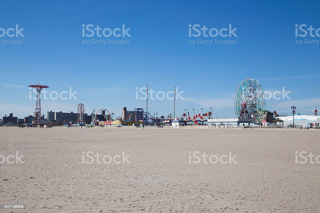 Coney island during a suny day stock photo