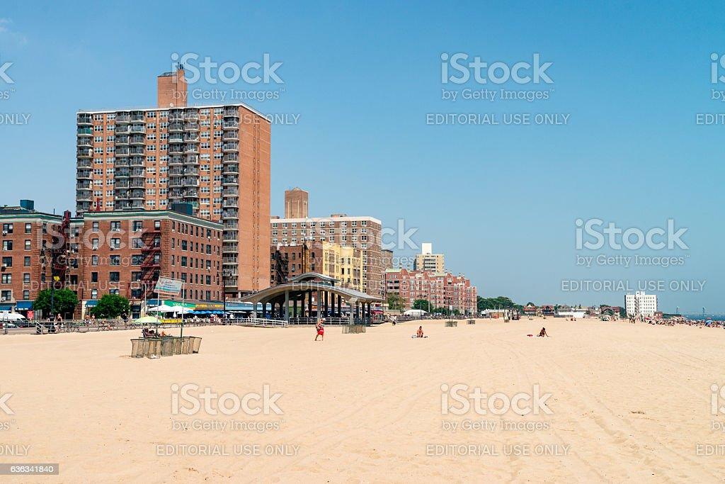 Coney Island is a peninsular residential neighborhood, beach stock photo