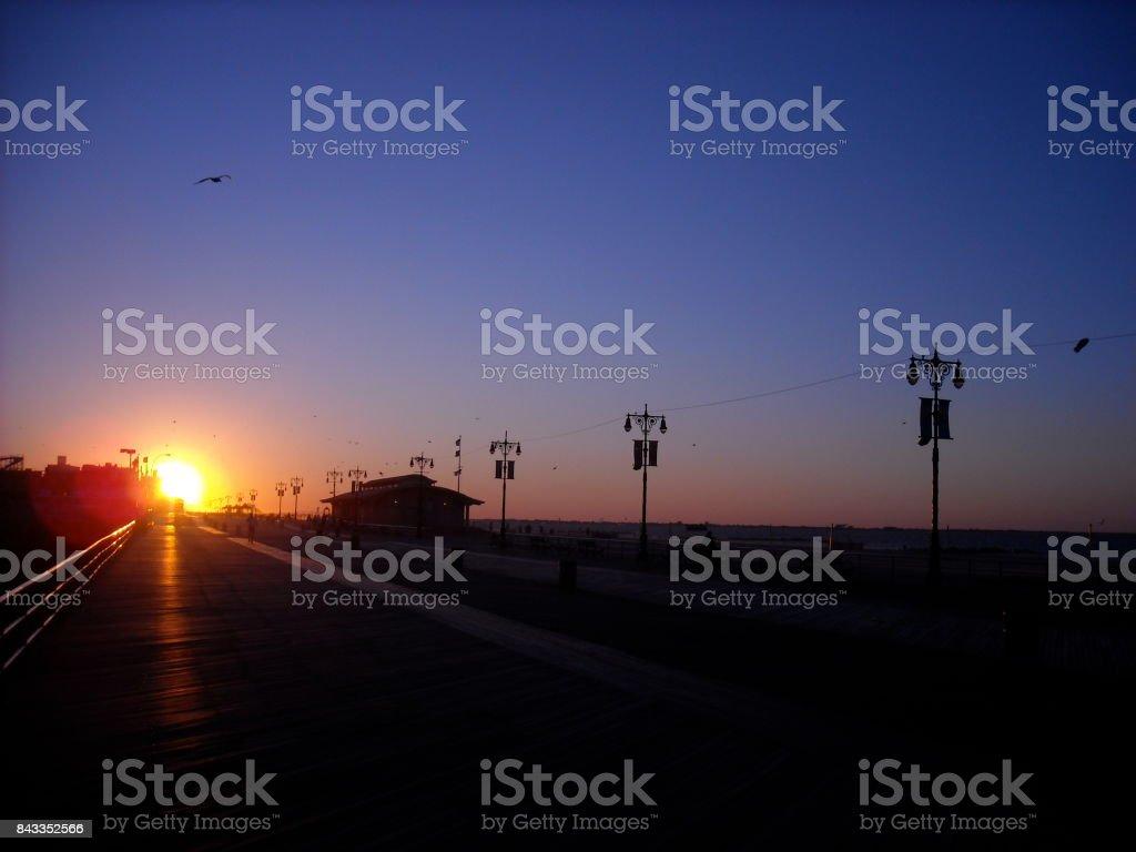 Coney Island Sunrise stock photo