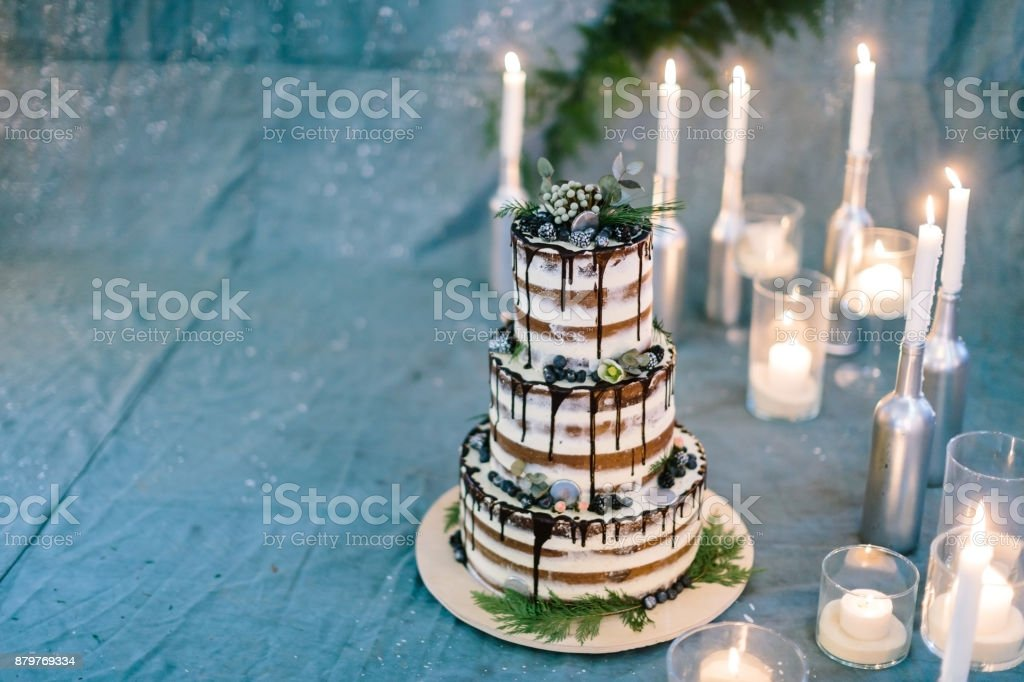 confectionary, dessert, party concept. marvelous cake composed of three tiers, all of them carefully decorated with leaves of different plants, berries and dark chocolate frosting stock photo