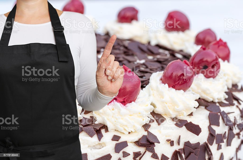 Confectioner with cake background concept template - foto de stock