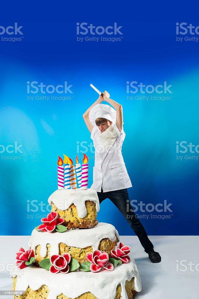 Pâtissier avec gâteau - Photo