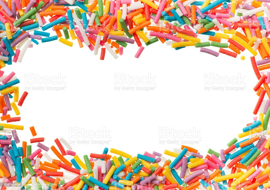 Confectionery confetti for food decoration background stock photo