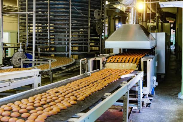 süßwarenfabrik. produktionslinie für kekse backen. - grundnahrungsmittel stock-fotos und bilder