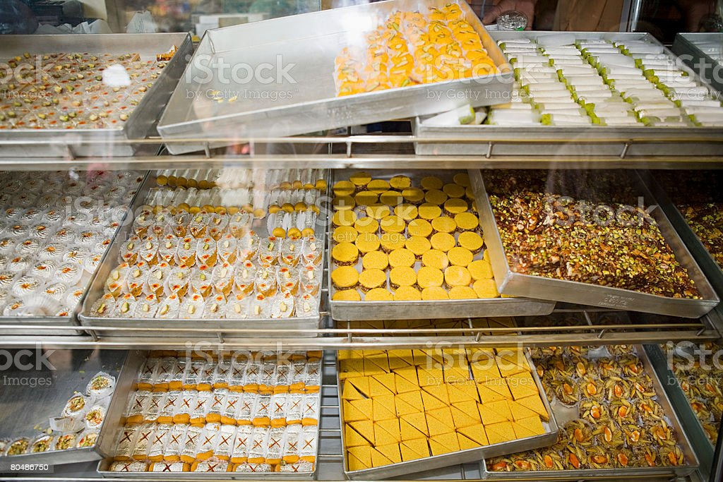 Confectionery on a market stall 免版稅 stock photo