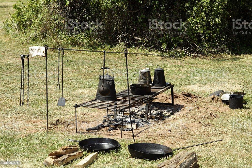 Confederate Campfire stock photo