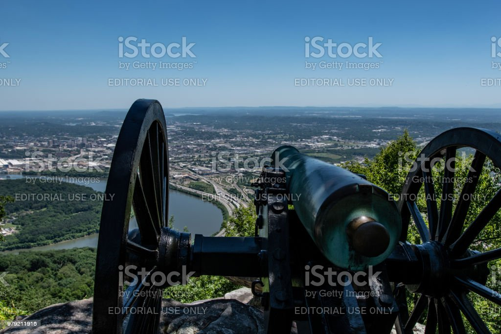 Confederate cannon - Point Park Battlefield stock photo