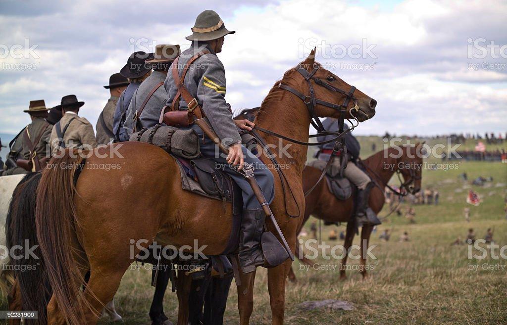 Confederate Cavalry in Line During Virginia Reenactment stock photo