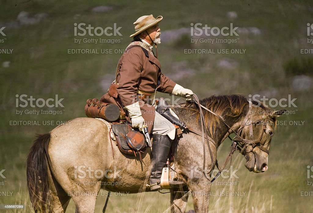 Confederate Cavalryman in the Shenandoah Valley, Virginia stock photo