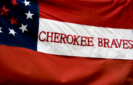 The flag carried by Cherokee Indians who were fighting with the south during the American Civil War.