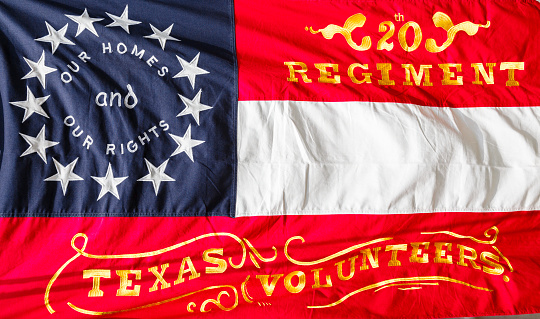 One of the many Confederate flags of the American Civil War.  This one represents the 20 Regiment of the Texas Volunteers.