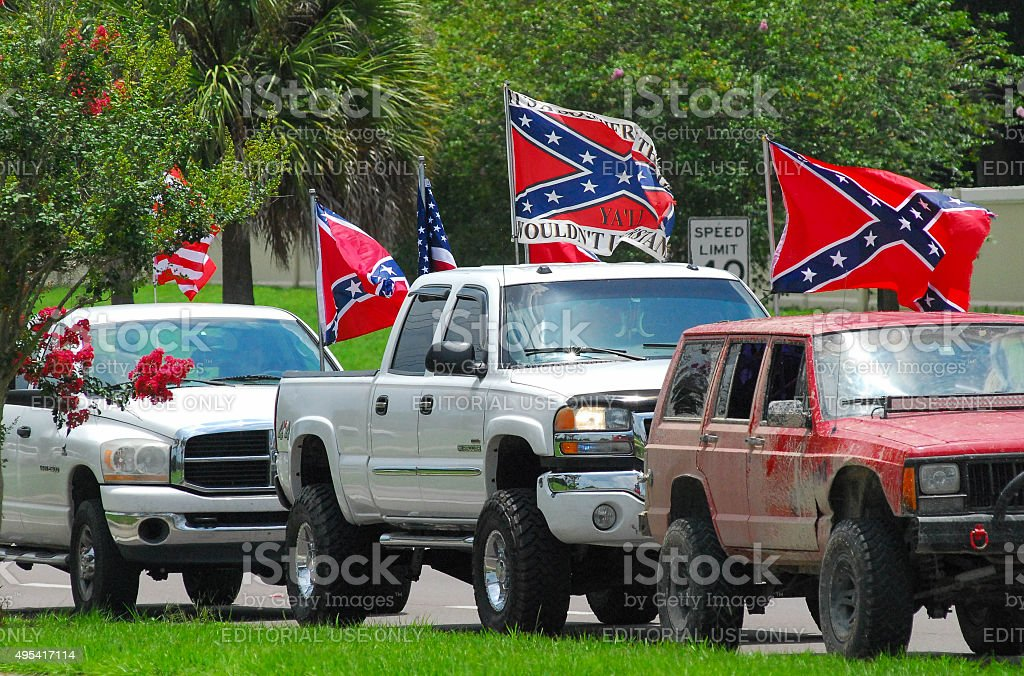 Confederate Flags and Pickup Trucks stock photo