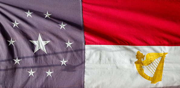 A flag from the American Civil War.  The Confederate Irish Brigade flag with harp symbol in gold.