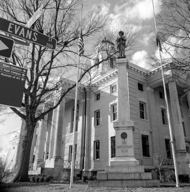 Confederate Monument with Flags Lowered for Parkland stock photo
