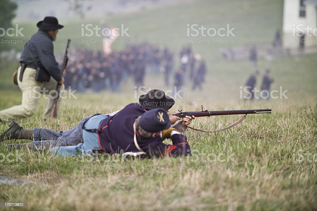 Confederate Sharpshooters in Virginia stock photo
