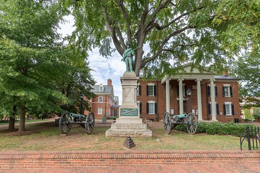 南軍像と大砲でアルバマール郡の巡回裁判所バージニア州シャーロッツ ...