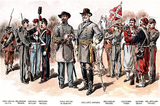 Confederate Uniforms Drawing depicts the uniforms of American Civil War soldiers. robert e. lee stock pictures, royalty-free photos & images
