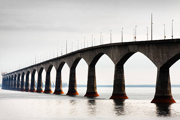Confederation Bridge on hot hazy overcast day stock photo