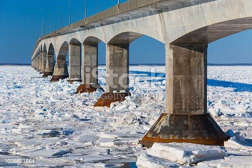 Confederation Bridge linking Prince Edward Island with the mainland of New Brunswick, Canada.