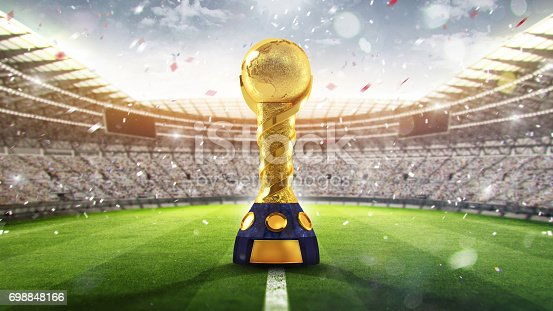 istock Confederations Cup. Golden trophy in the form of the globe. 2017. 3d render 698848166