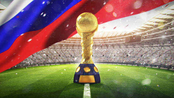 Confederations Cup. Golden trophy in the form of the globe. Russia 2017. 3d render stock photo