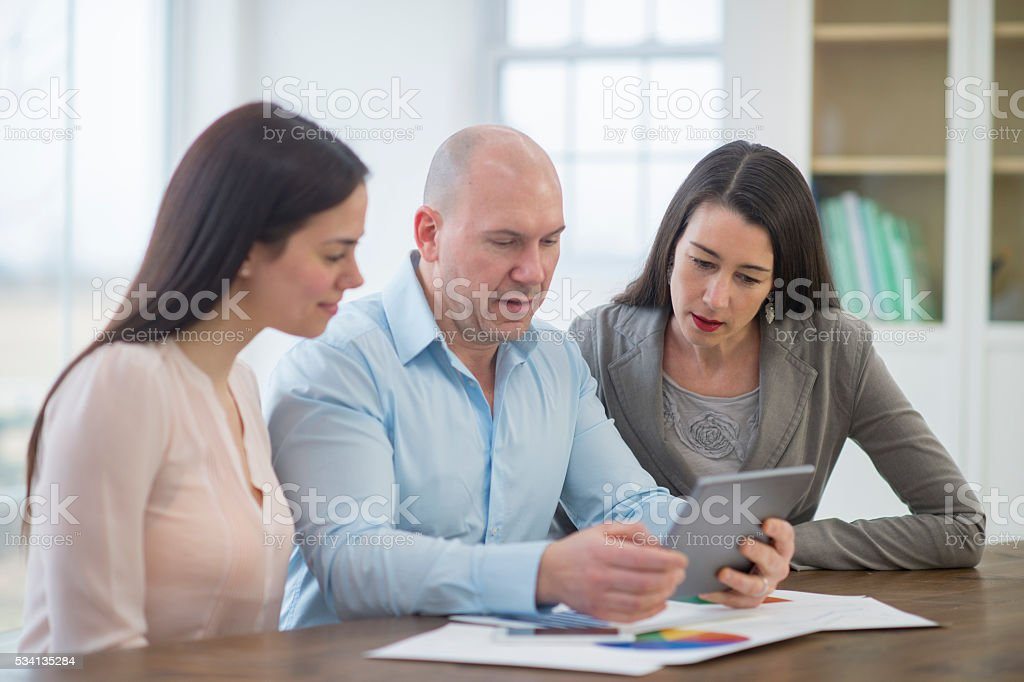 Conference Call on a Digital Tablet stock photo