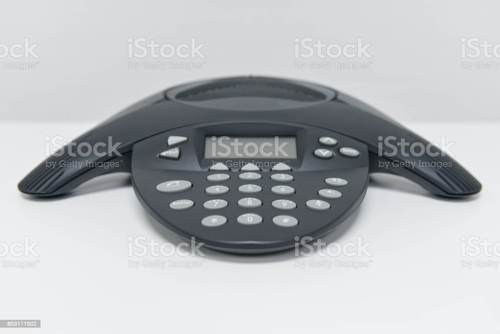 IP conference device for remote meeting on the white table stock photo