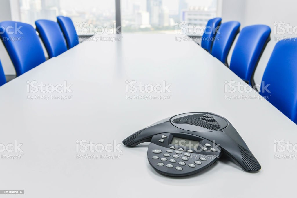 IP Conference device on the table in the meeting room stock photo