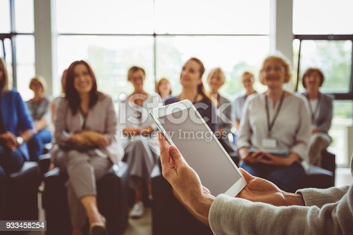 1028234706 istock photo Conference for businesswomen 933458254
