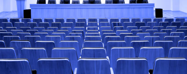 Conference hall chairs (blue) stock photo