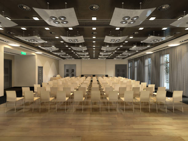 conference hall interior 3d render image stock photo