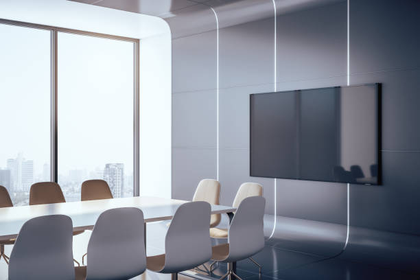 Conference interior room with plasma Futuristic conference interior room with blank plasma on wall and city view. Presentation concept. 3D Rendering board room stock pictures, royalty-free photos & images