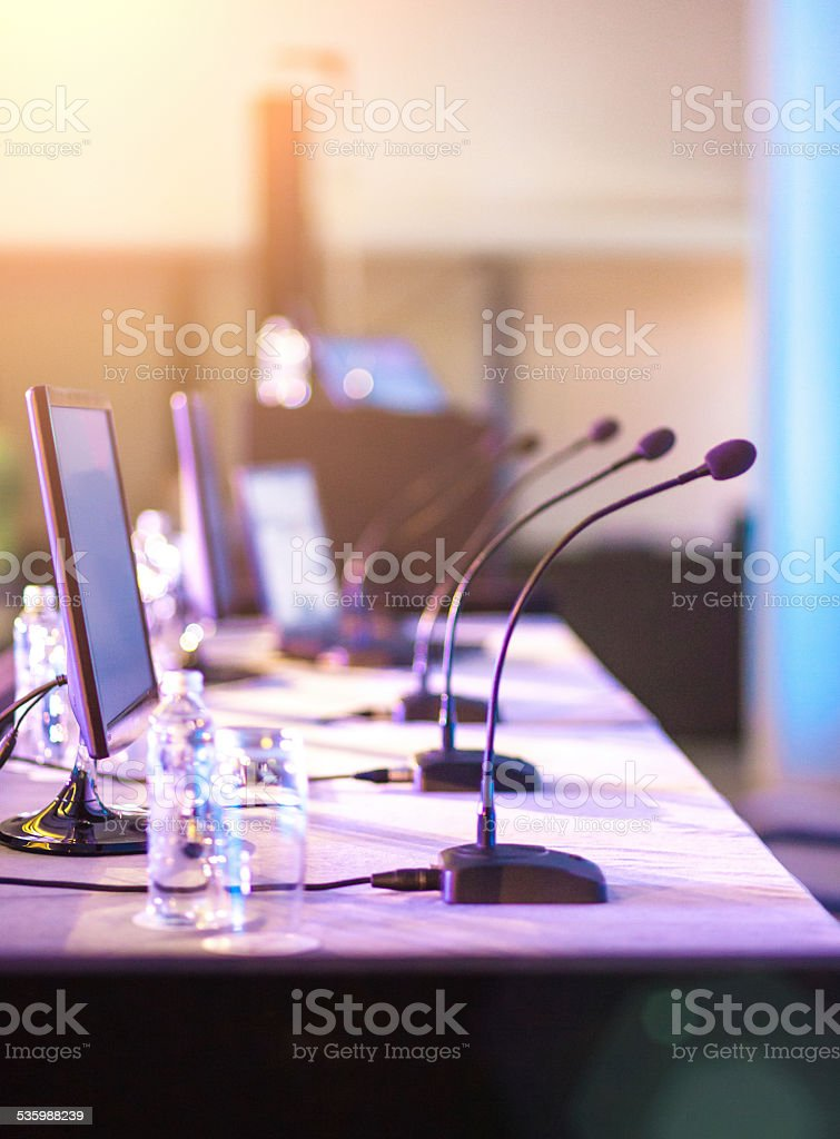 Conference microphone stock photo