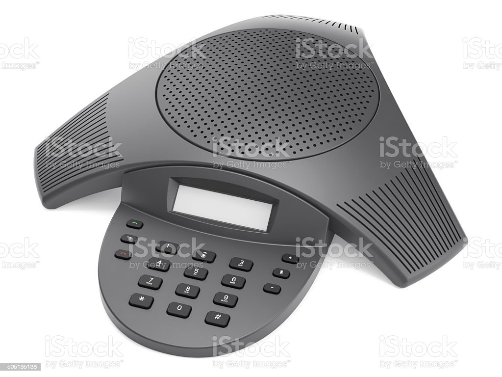 Conference Phone Isolated On White stock photo