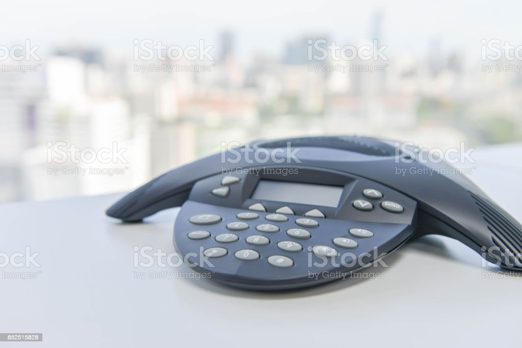 IP Conference Phone on the white table stock photo
